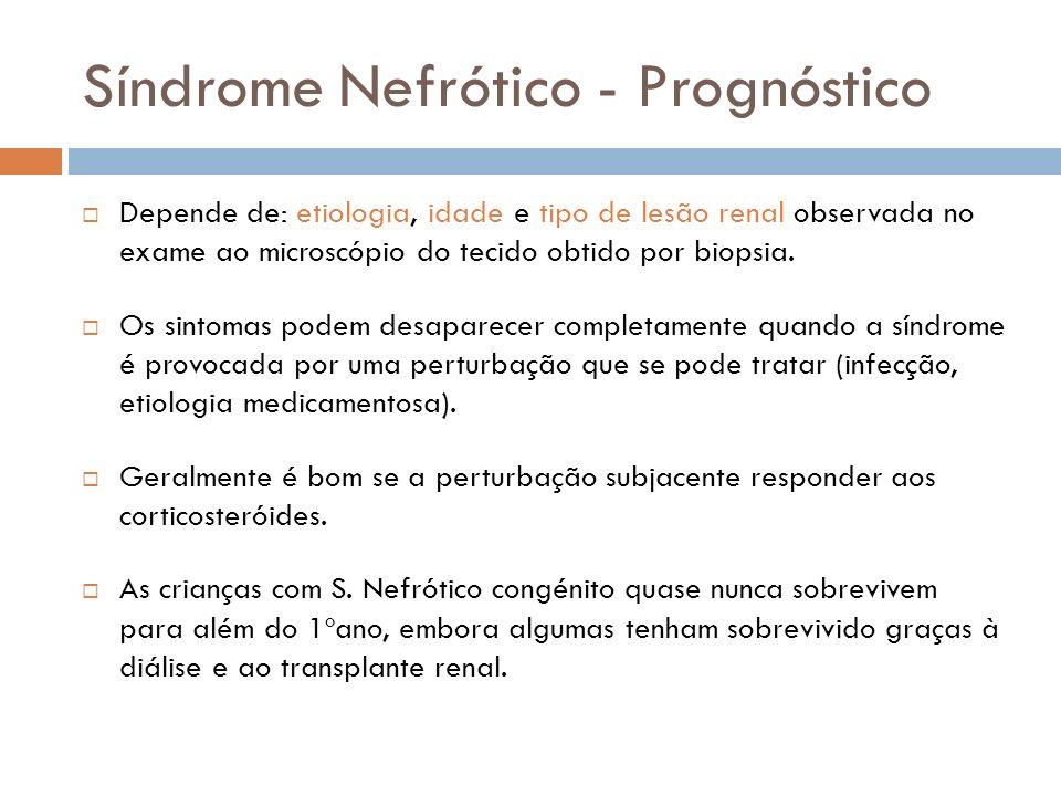 Síndrome Nefrótico - Prognóstico Depende de: etiologia, idade e tipo de lesão renal observada no exame ao microscópio do tecido obtido por biopsia. Os