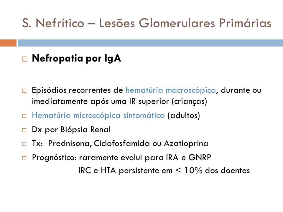 S. Nefrítico – Lesões Glomerulares Primárias Nefropatia por IgA Episódios recorrentes de hematúria macroscópica, durante ou imediatamente após uma IR