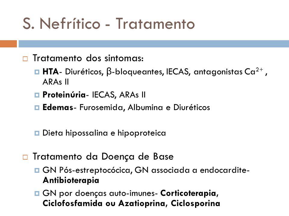 S. Nefrítico - Tratamento Tratamento dos sintomas: HTA- Diuréticos, β -bloqueantes, IECAS, antagonistas Ca 2+, ARAs II Proteinúria- IECAS, ARAs II Ede