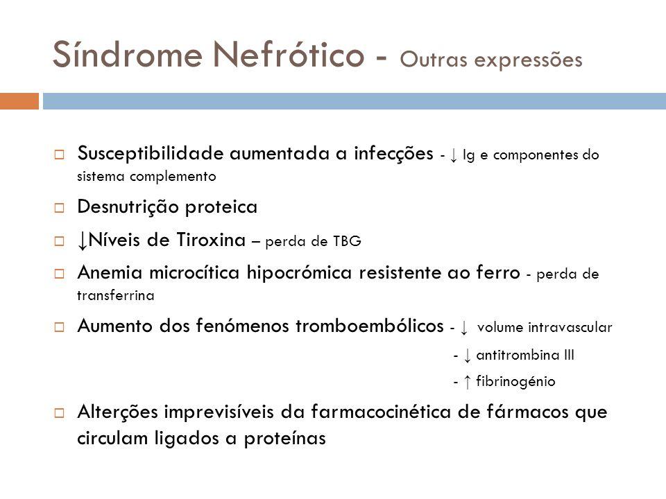 Síndrome Nefrótico - Outras expressões Susceptibilidade aumentada a infecções - Ig e componentes do sistema complemento Desnutrição proteica Níveis de