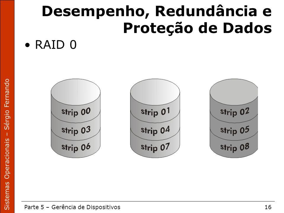 Sistemas Operacionais – Sérgio Fernando Parte 5 – Gerência de Dispositivos16 Desempenho, Redundância e Proteção de Dados RAID 0