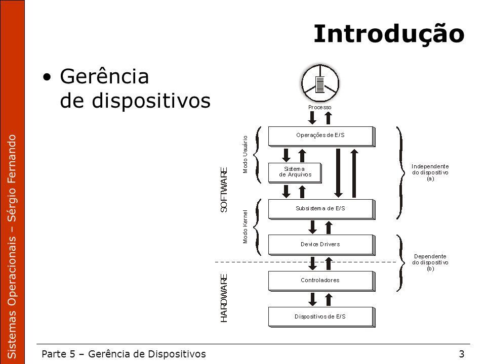 Sistemas Operacionais – Sérgio Fernando Parte 5 – Gerência de Dispositivos4 Arquitetura de Sistemas Operacionais – Machado/Maia Acesso ao Subsistema de E/S Operações de E/S