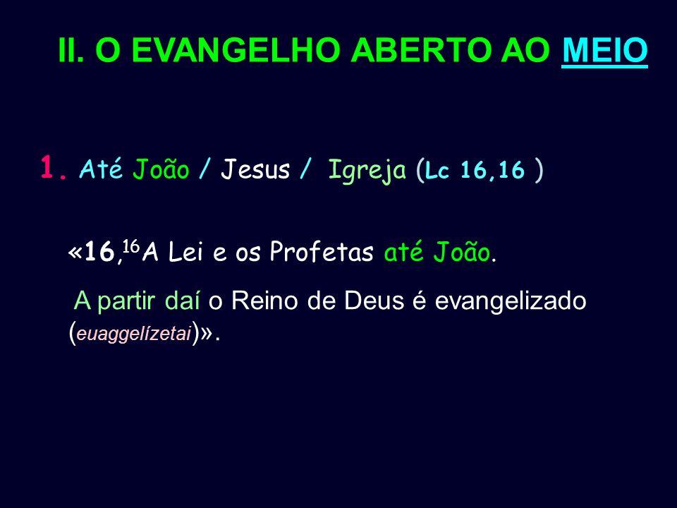 II. O EVANGELHO ABERTO AO MEIO 1. Até João / Jesus / Igreja ( Lc 16,16 ) «16, 16 A Lei e os Profetas até João. A partir daí o Reino de Deus é evangeli