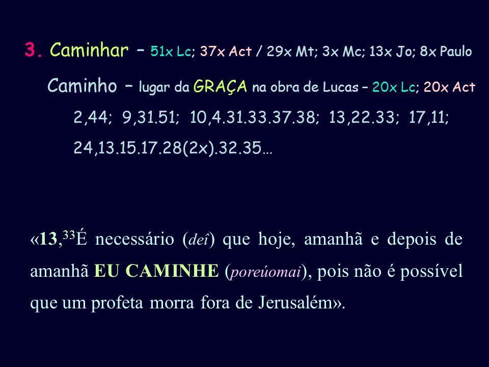 3. Caminhar – 51x Lc; 37x Act / 29x Mt; 3x Mc; 13x Jo; 8x Paulo Caminho – lugar da GRAÇA na obra de Lucas – 20x Lc; 20x Act 2,44; 9,31.51; 10,4.31.33.