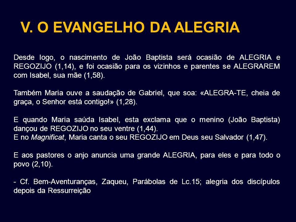 V. O EVANGELHO DA ALEGRIA Desde logo, o nascimento de João Baptista será ocasião de ALEGRIA e REGOZIJO (1,14), e foi ocasião para os vizinhos e parent