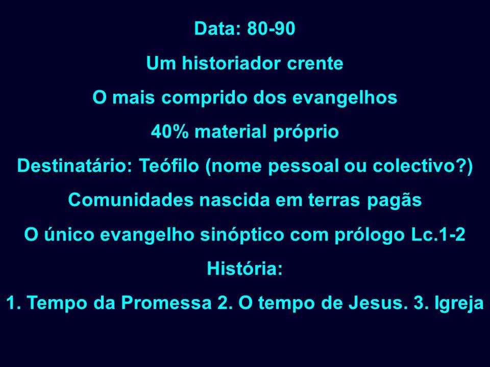 Data: 80-90 Um historiador crente O mais comprido dos evangelhos 40% material próprio Destinatário: Teófilo (nome pessoal ou colectivo?) Comunidades n
