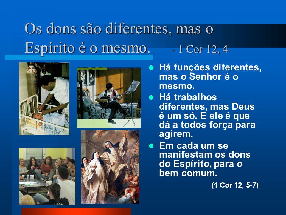 Os dons são diferentes, mas o Espírito é o mesmo. - 1 Cor 12, 4 Há funções diferentes, mas o Senhor é o mesmo. Há trabalhos diferentes, mas Deus é um