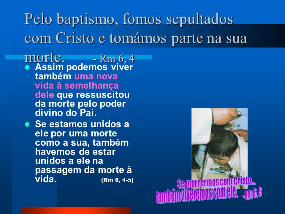Pelo baptismo, fomos sepultados com Cristo e tomámos parte na sua morte. - Rm 6, 4 Assim podemos viver também uma nova vida à semelhança dele que ress