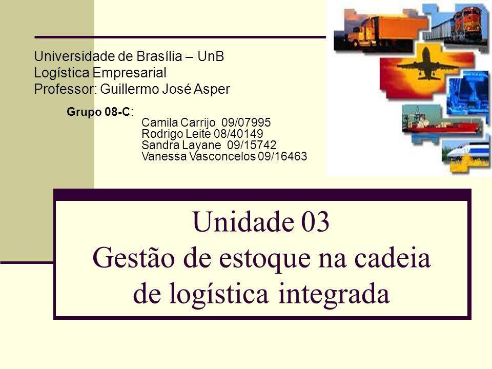 Unidade 03 Gestão de estoque na cadeia de logística integrada Universidade de Brasília – UnB Logística Empresarial Professor: Guillermo José Asper Gru