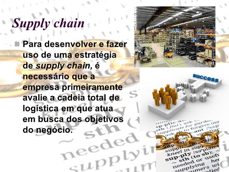 Para desenvolver e fazer uso de uma estratégia de supply chain, é necessário que a empresa primeiramente avalie a cadeia total de logística em que atu