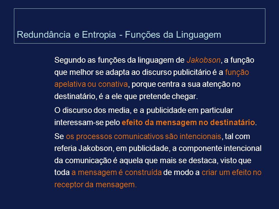 Redundância e Entropia - Funções da Linguagem Segundo as funções da linguagem de Jakobson, a função que melhor se adapta ao discurso publicitário é a