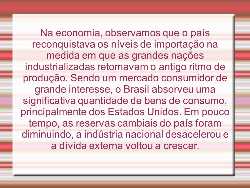Na economia, observamos que o país reconquistava os níveis de importação na medida em que as grandes nações industrializadas retomavam o antigo ritmo