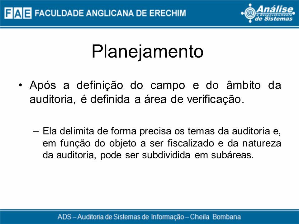 Planejamento Após a definição do campo e do âmbito da auditoria, é definida a área de verificação. –Ela delimita de forma precisa os temas da auditori