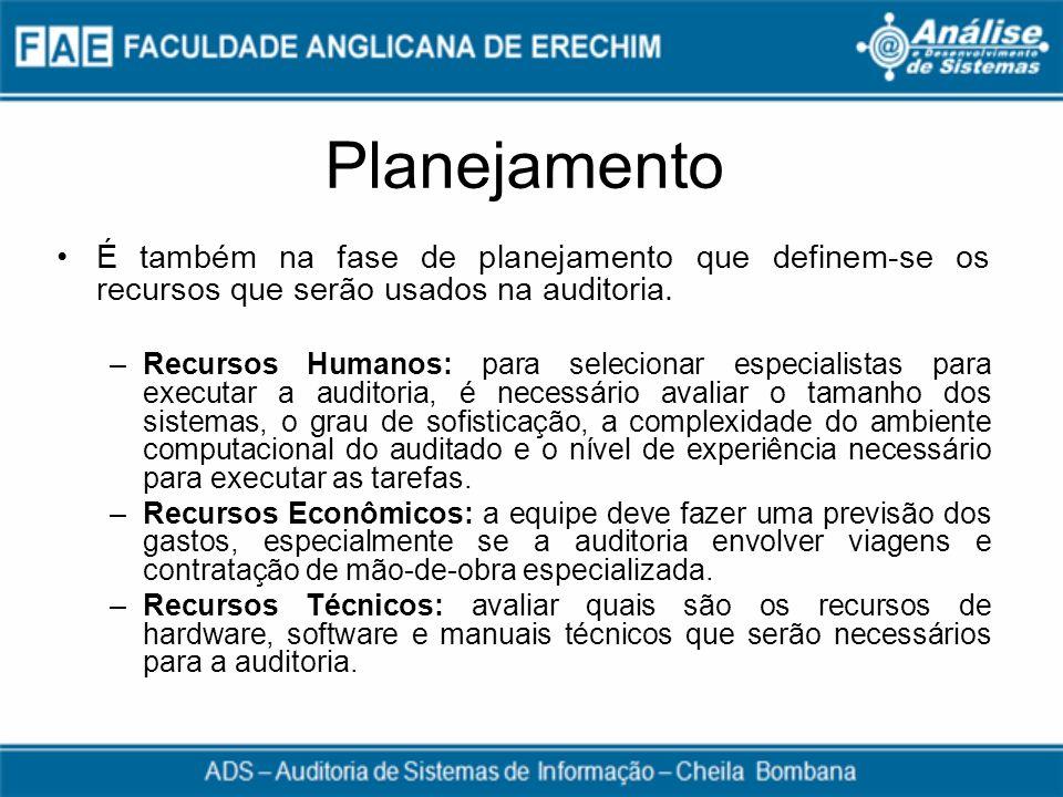 Planejamento É também na fase de planejamento que definem-se os recursos que serão usados na auditoria. –Recursos Humanos: para selecionar especialist