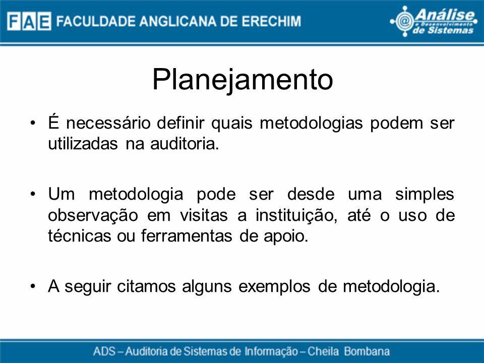 Planejamento É necessário definir quais metodologias podem ser utilizadas na auditoria. Um metodologia pode ser desde uma simples observação em visita