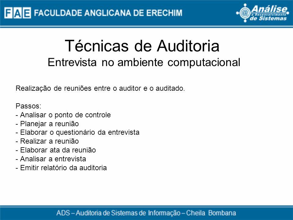 Técnicas de Auditoria Entrevista no ambiente computacional Realização de reuniões entre o auditor e o auditado. Passos: - Analisar o ponto de controle
