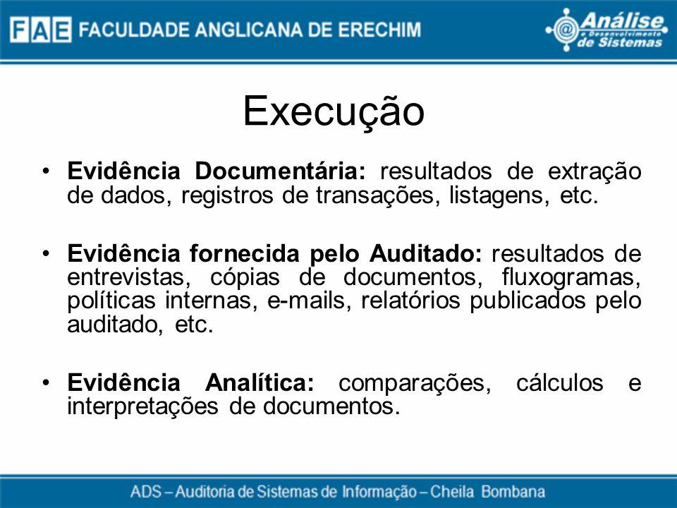 Execução Evidência Documentária: resultados de extração de dados, registros de transações, listagens, etc. Evidência fornecida pelo Auditado: resultad