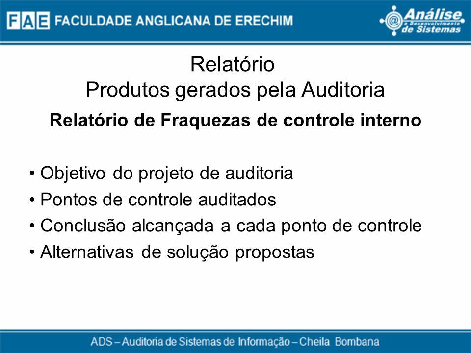 Relatório Produtos gerados pela Auditoria Relatório de Fraquezas de controle interno Objetivo do projeto de auditoria Pontos de controle auditados Con