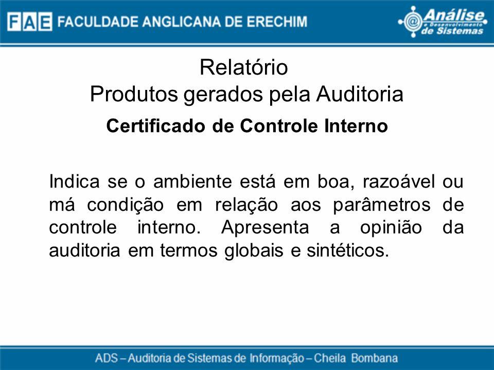 Relatório Produtos gerados pela Auditoria Certificado de Controle Interno Indica se o ambiente está em boa, razoável ou má condição em relação aos par