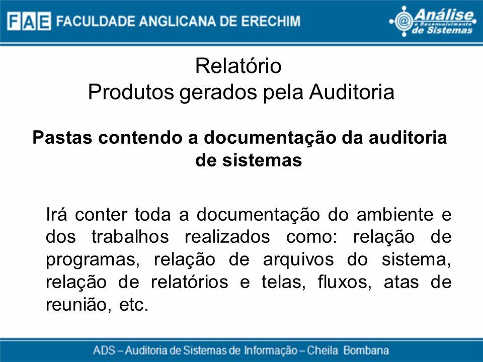 Relatório Produtos gerados pela Auditoria Pastas contendo a documentação da auditoria de sistemas Irá conter toda a documentação do ambiente e dos tra