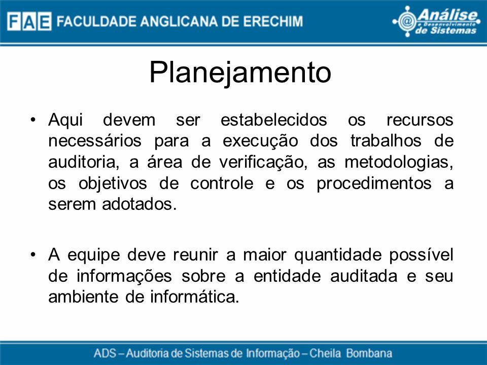 Planejamento Aqui devem ser estabelecidos os recursos necessários para a execução dos trabalhos de auditoria, a área de verificação, as metodologias,