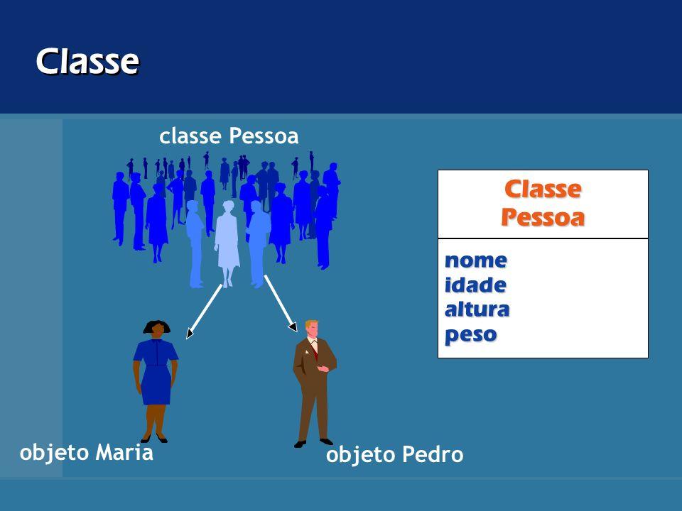 Classe ClassePessoa classe Pessoa objeto Maria objeto Pedro nomeidadealturapeso