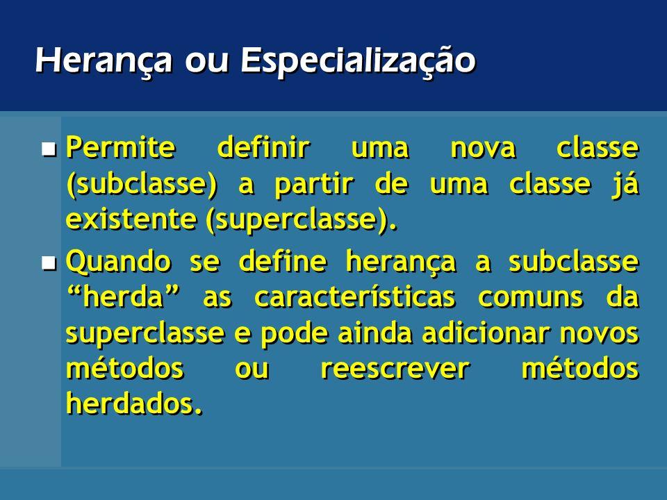 Herança ou Especialização Permite definir uma nova classe (subclasse) a partir de uma classe já existente (superclasse). Quando se define herança a su