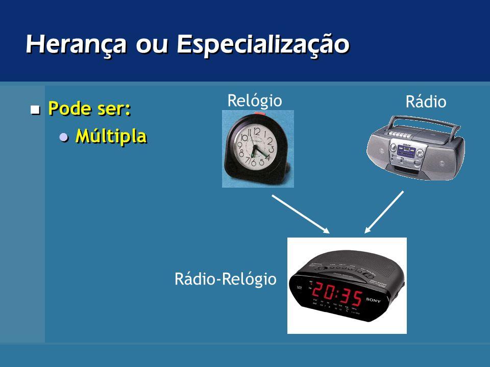 Herança ou Especialização Pode ser: Múltipla Pode ser: Múltipla Relógio Rádio Rádio-Relógio