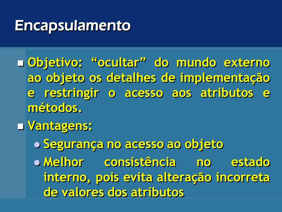 Encapsulamento Objetivo: ocultar do mundo externo ao objeto os detalhes de implementação e restringir o acesso aos atributos e métodos. Vantagens: Seg