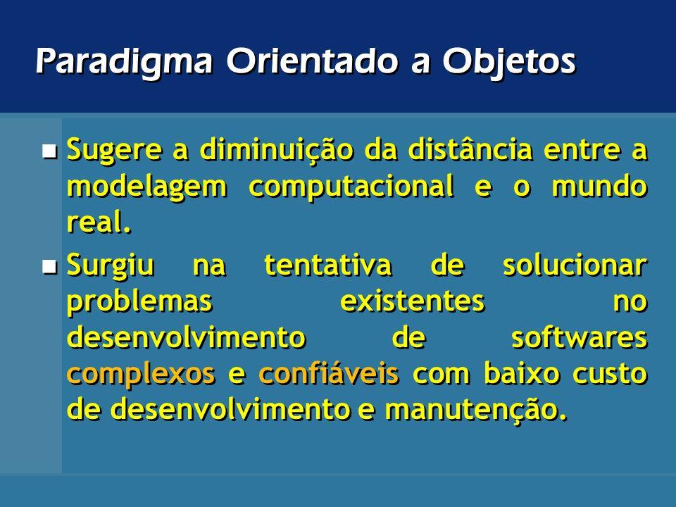 Paradigma Orientado a Objetos Sugere a diminuição da distância entre a modelagem computacional e o mundo real. Surgiu na tentativa de solucionar probl