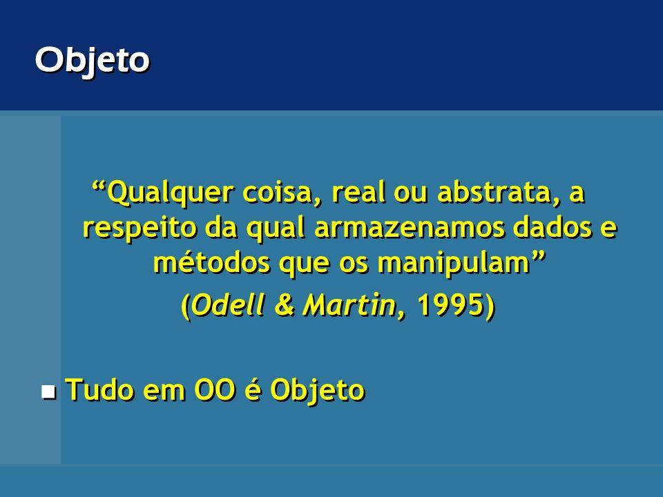 Objeto Qualquer coisa, real ou abstrata, a respeito da qual armazenamos dados e métodos que os manipulam (Odell & Martin, 1995) Tudo em OO é Objeto Qu
