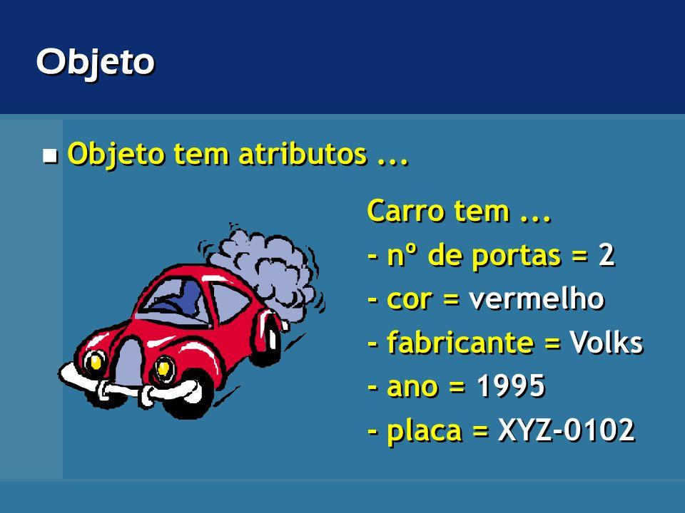 Objeto tem atributos... Carro tem... - nº de portas = 2 - cor = vermelho - fabricante = Volks - ano = 1995 - placa = XYZ-0102 Carro tem... - nº de por