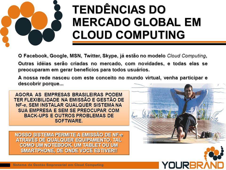 Sistema de Gestão Empresarial em Cloud Computing TENDÊNCIAS DO MERCADO GLOBAL EM CLOUD COMPUTING O Facebook, Google, MSN, Twitter, Skype, já estão no modelo Cloud Computing, Outras idéias serão criadas no mercado, com novidades, e todas elas se preocuparam em gerar benefícios para todos usuários.
