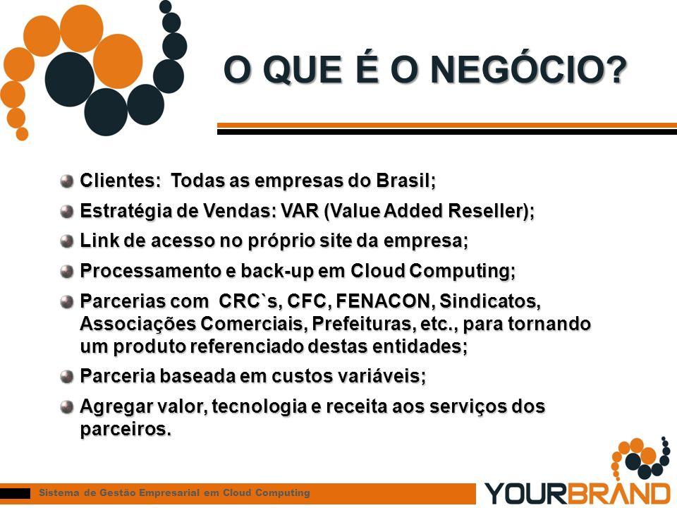 Sistema de Gestão Empresarial em Cloud Computing O QUE É O NEGÓCIO? Clientes: Todas as empresas do Brasil; Estratégia de Vendas: VAR (Value Added Rese