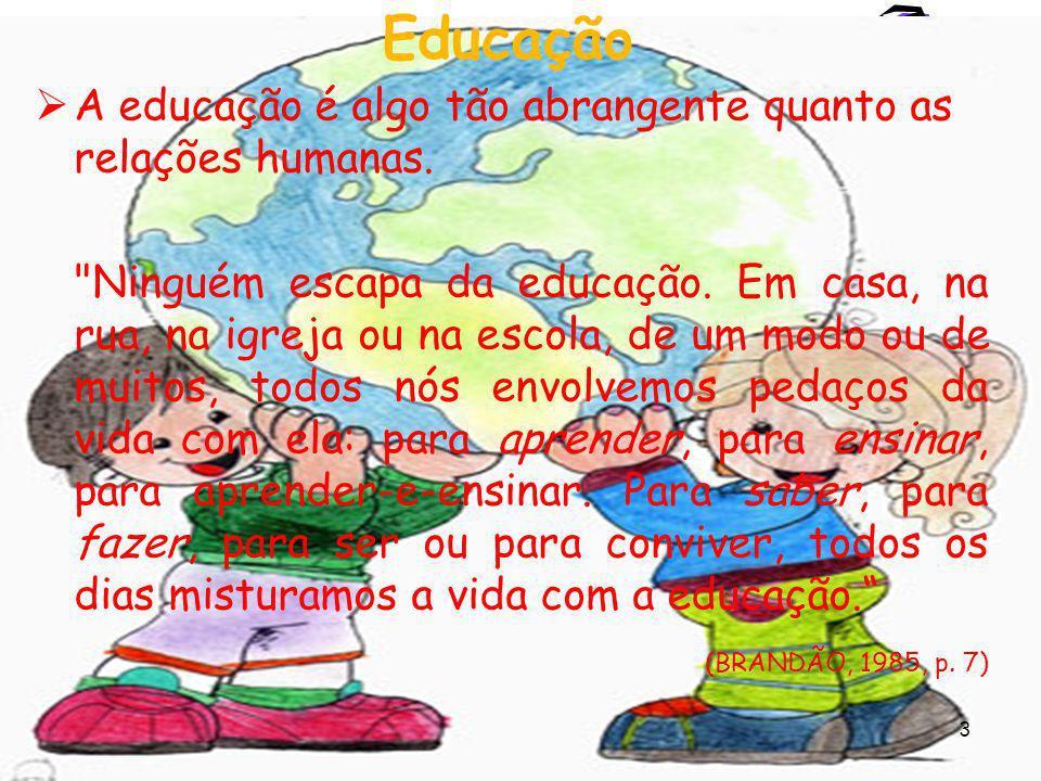 3 Educação A educação é algo tão abrangente quanto as relações humanas.