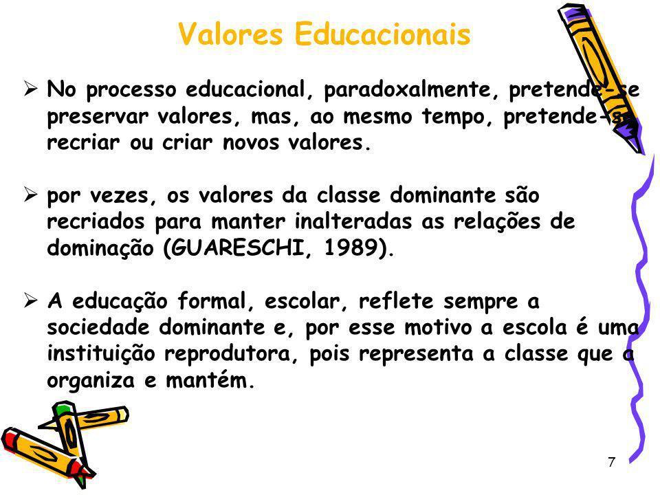 7 Valores Educacionais No processo educacional, paradoxalmente, pretende-se preservar valores, mas, ao mesmo tempo, pretende-se recriar ou criar novos