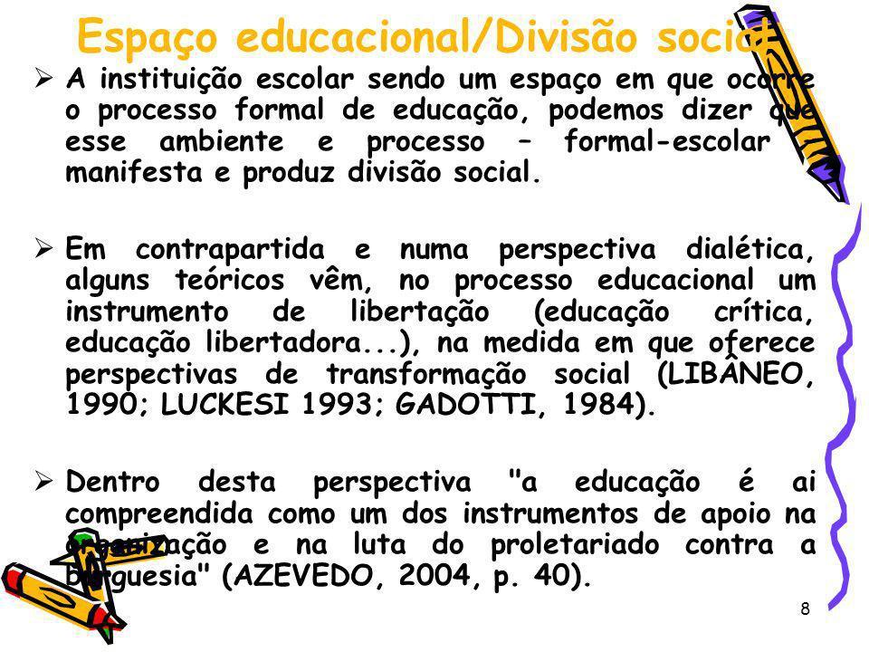 8 Espaço educacional/Divisão social A instituição escolar sendo um espaço em que ocorre o processo formal de educação, podemos dizer que esse ambiente