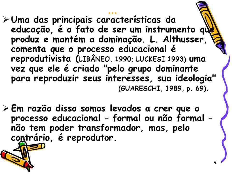 9... Uma das principais características da educação, é o fato de ser um instrumento que produz e mantém a dominação. L. Althusser, comenta que o proce