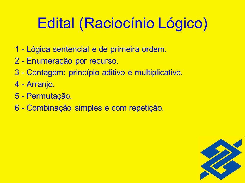 1 - Lógica sentencial e de primeira ordem. 2 - Enumeração por recurso. 3 - Contagem: princípio aditivo e multiplicativo. 4 - Arranjo. 5 - Permutação.