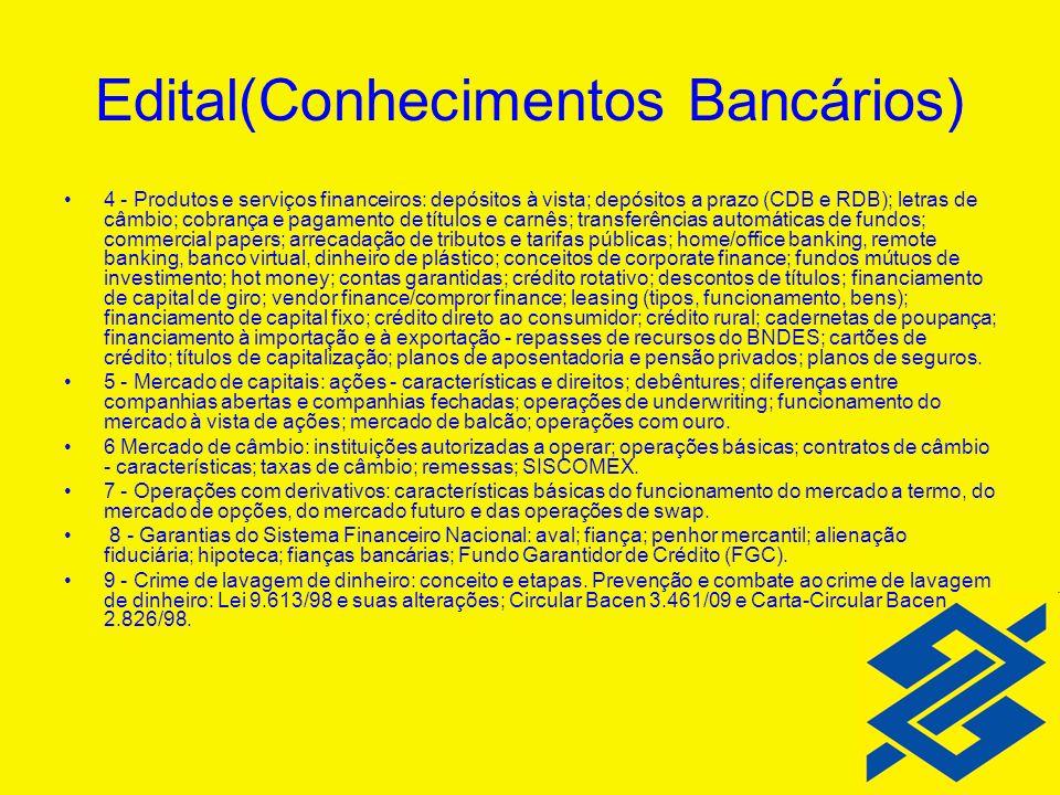 Edital(Conhecimentos Bancários) 4 - Produtos e serviços financeiros: depósitos à vista; depósitos a prazo (CDB e RDB); letras de câmbio; cobrança e pa