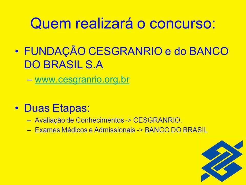 Quem realizará o concurso: FUNDAÇÃO CESGRANRIO e do BANCO DO BRASIL S.A –www.cesgranrio.org.brwww.cesgranrio.org.br Duas Etapas: –Avaliação de Conheci