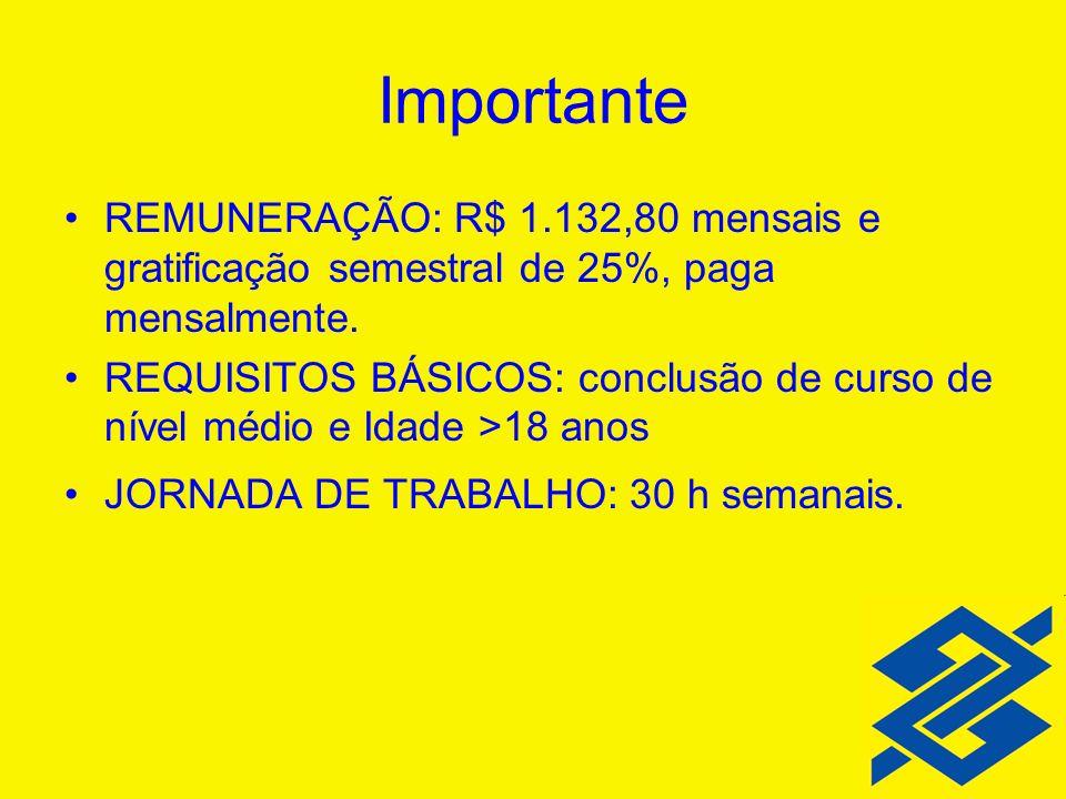 Importante REMUNERAÇÃO: R$ 1.132,80 mensais e gratificação semestral de 25%, paga mensalmente. REQUISITOS BÁSICOS: conclusão de curso de nível médio e