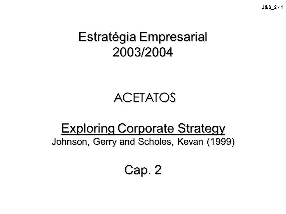 J&S_2 - 1 Estratégia Empresarial 2003/2004 ACETATOS Exploring Corporate Strategy Johnson, Gerry and Scholes, Kevan (1999) Cap. 2