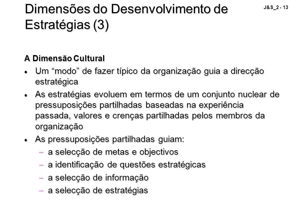 J&S_2 - 13 Dimensões do Desenvolvimento de Estratégias (3) A Dimensão Cultural Um modo de fazer típico da organização guia a direcção estratégica Um m