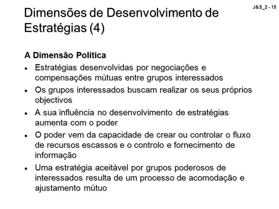 J&S_2 - 15 Dimensões de Desenvolvimento de Estratégias (4) A Dimensão Política Estratégias desenvolvidas por negociações e compensações mútuas entre g