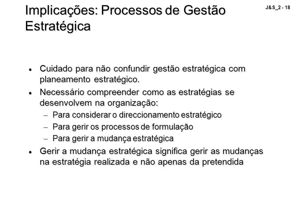 J&S_2 - 18 Implicações: Processos de Gestão Estratégica Cuidado para não confundir gestão estratégica com planeamento estratégico. Cuidado para não co
