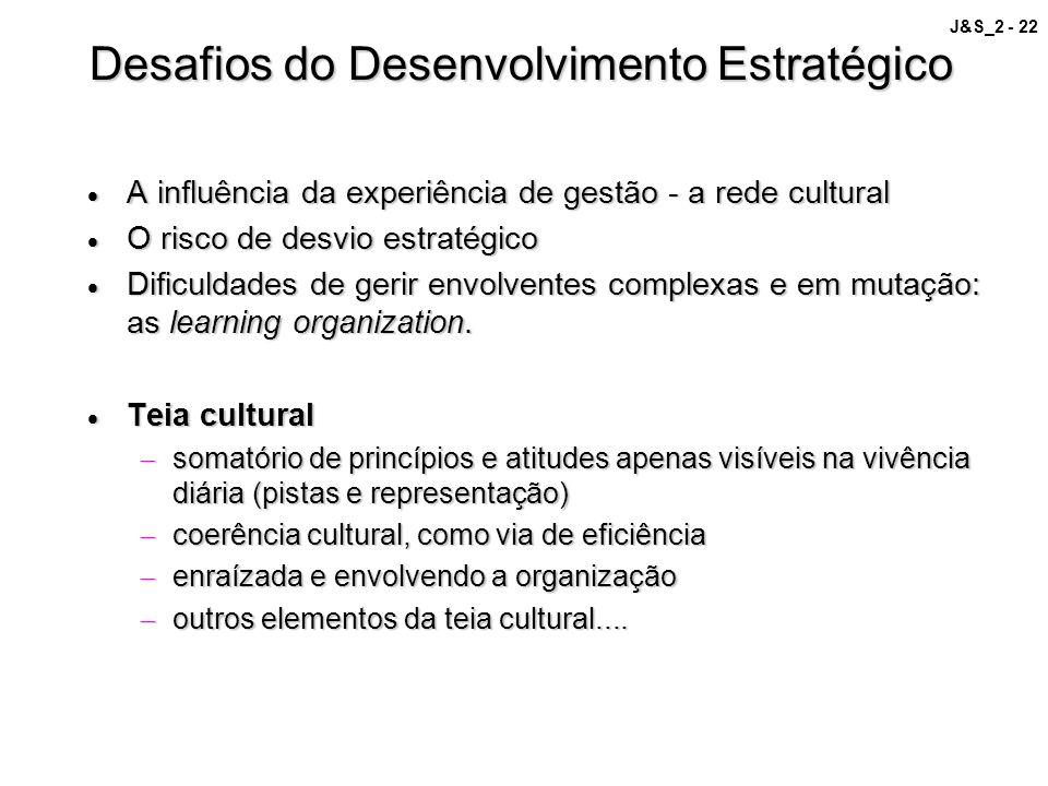 J&S_2 - 22 Desafios do Desenvolvimento Estratégico A influência da experiência de gestão - a rede cultural A influência da experiência de gestão - a r