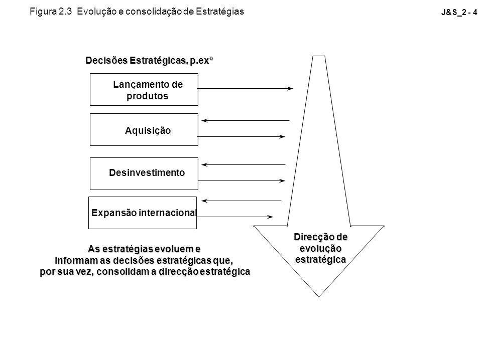 J&S_2 - 4 Decisões Estratégicas, p.exº Lançamento de produtos Aquisição Desinvestimento Expansão internacional As estratégias evoluem e informam as de