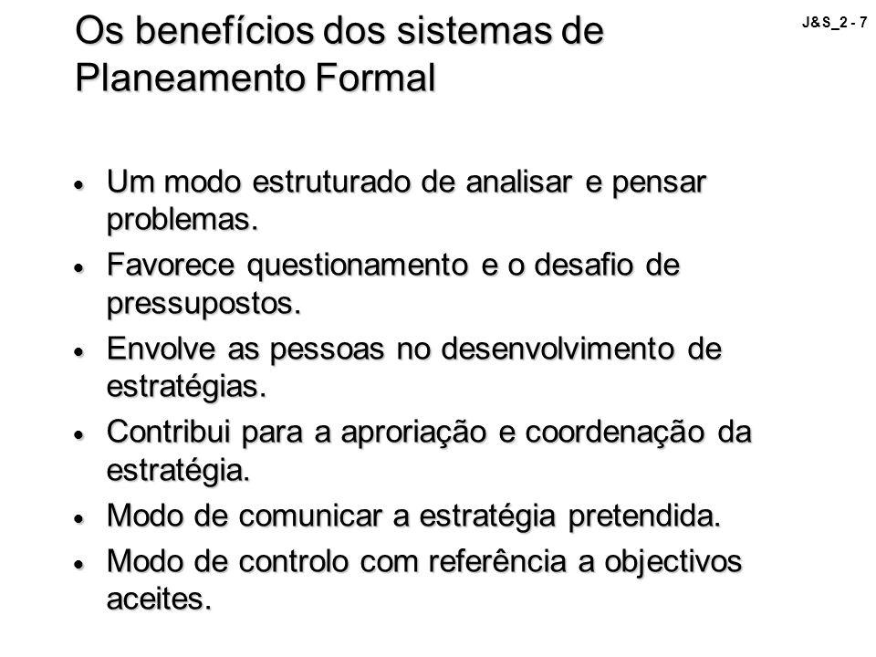 J&S_2 - 7 Os benefícios dos sistemas de Planeamento Formal Um modo estruturado de analisar e pensar problemas. Um modo estruturado de analisar e pensa