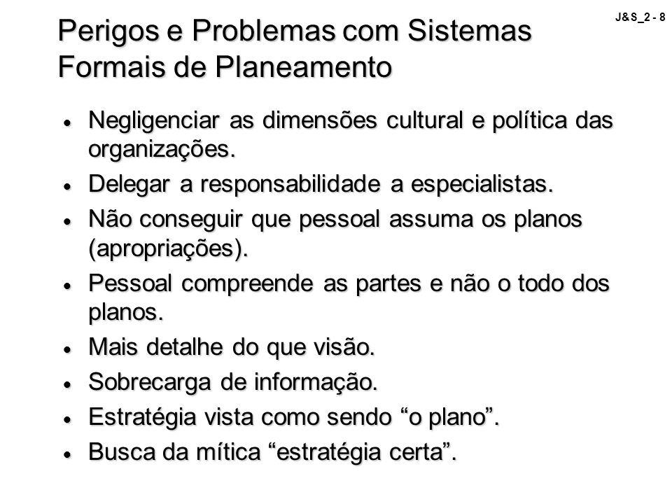 J&S_2 - 8 Perigos e Problemas com Sistemas Formais de Planeamento Negligenciar as dimensões cultural e política das organizações. Negligenciar as dime